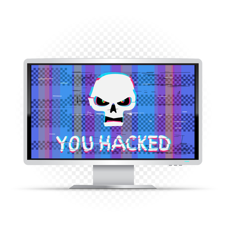 You hacked text on white wide monitor with blue glitch background. Angry white hacker skull with hack message on device. Computer crime attack illustration