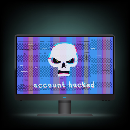 Account hacked text on black wide monitor with blue glitch screen background. Angry white hacker skull with hack message on device. Computer crime attack illustration Illustration