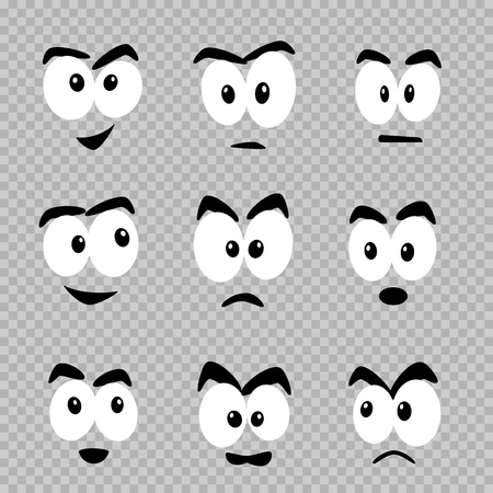 Cartoon eyes template set on transparent background. Comics faces design collection. Put template emotion on objects and make them alive