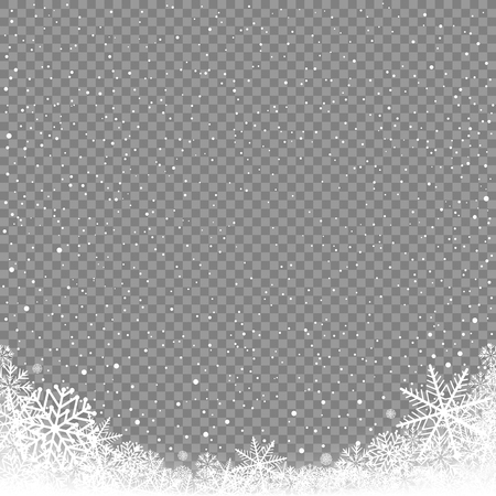 Winter snowfall on transparent background. Frosty close-up wintry snowflakes. Ice shape pattern. Christmas holiday decoration backdrop