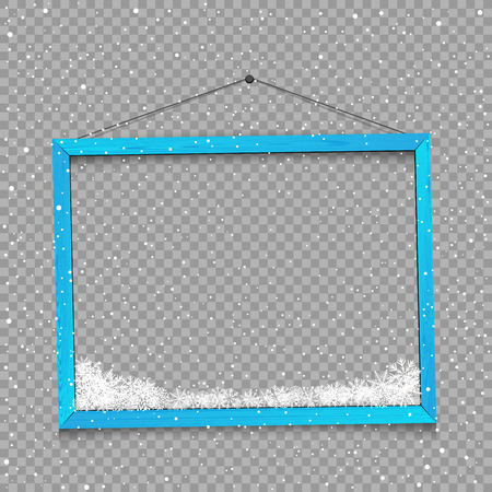 Wooden blue frame with snow