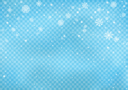 Snowfall on blue transparent background. Winter snowy design. Different snowflake falling from the cloud. Christmas and New Year eve