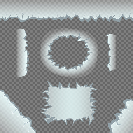 Ice crack template set on gray transparent background. Different round rectangular corner line transparent frozen shape collection