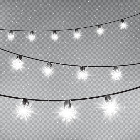 Christmas snowflake lamps template on gray transparent background. Holiday bulbs glows. Decoration glowing lights. New Year garland shine Vektoros illusztráció