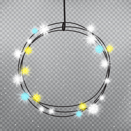 Christmas snowflakes color light bulbs ring template on gray transparent background. Holiday lamps glows. Decoration glowing lights. New Year round circle garland shine