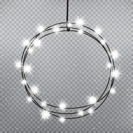 Christmas snowflakes light bulbs ring template on gray transparent background. Holiday lamps glows. Decoration glowing lights. New Year round circle garland shine