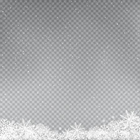 Modèle de chute de flocons de neige. Chutes de neige d'hiver sur fond gris. Flocon de neige hivernal en gros plan givré. Congère en forme de glace. Toile de fond de décoration de vacances de Noël