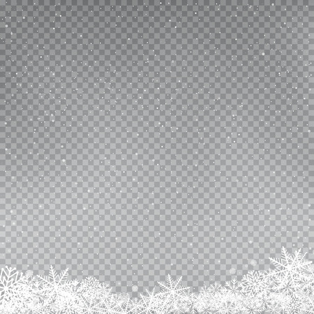 Snowflakes falling template. Winter snowfall on gray background. Frosty close-up wintry snowflake. Ice shape snowdrift. Christmas holiday decoration backdrop Vectores