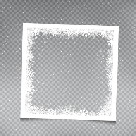 Snowy square frame template on gray transparent background. Christmas snowflakes holiday ice ornament banner Illustration