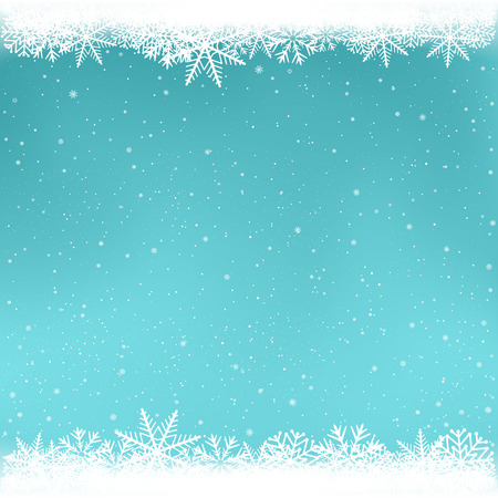 Schneebedeckte azurblaue Wintervorlage. Schneefall auf blauem Hintergrund. Winterliche Schneeflocken der frostigen Nahaufnahme. Eisformmuster. Weihnachtsdekoration einfach zu bearbeitender Hintergrund