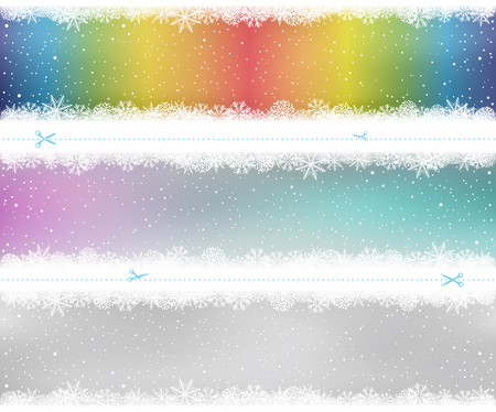 Christmas snow pattern on box or shelf. Snowy rainbow color gray winter template background. Frosty close-up wintry snowflakes. Ice shape pattern. New Year holiday decoration easy to edit backdrop