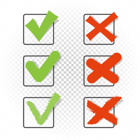 Voting square checkbox sign symbol set template. Green checkmark tick pictogram. Accept agree approved correct good confirm or not wrong incorrect choice vector illustration icon