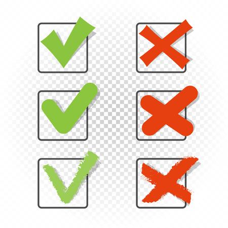 Voting Square Checkbox Zeichen Symbolsatz Vorlage. Piktogramm mit grünem Häkchen. Akzeptieren Sie zustimmen genehmigt richtig gut bestätigen oder nicht falsch falsche Wahl Vektor-Illustrationssymbol