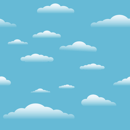 Blue sky with clouds seamless texture background. Cartoon cloud vector illustration