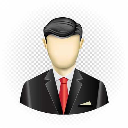 Human template businessman with no face isolated on transparent background. Easy to insert any face from photo or draw emotion. Oval userpic icon for social networks Illustration