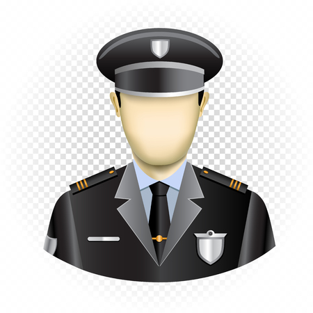Human template policeman with no face isolated on transparent background. Easy to insert any face from photo or draw emotion. Oval police user icon for social networks Vetores