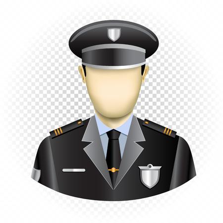 Policía de plantilla humana sin rostro aislado sobre fondo transparente. Fácil de insertar cualquier rostro de la foto o dibujar una emoción. Icono de usuario de policía oval para redes sociales Ilustración de vector