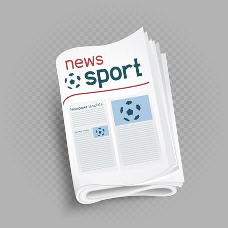 Sport newspaper press icon on gray transparent background. Sports news