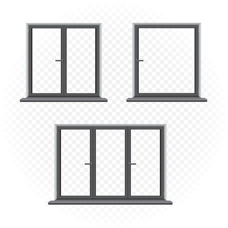 black windows template set Illustration