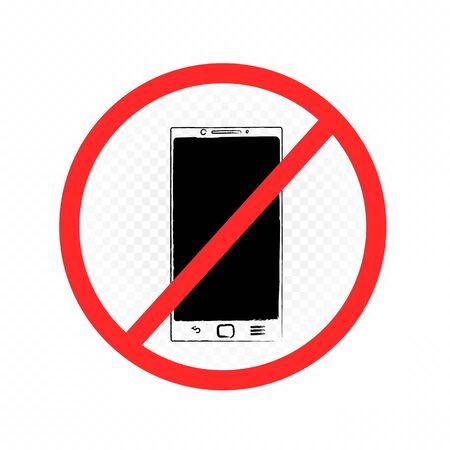 drawn smartphone prohibition sign Foto de archivo - 129000613