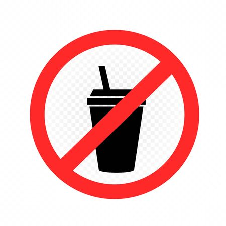 drinks in plastic cup prohibition sign Vettoriali