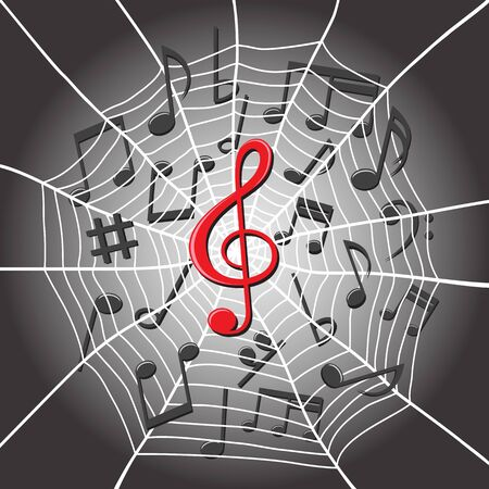 White spider web with treble clef in center and music notes on dark background. Musical composition tangled note