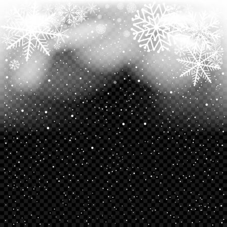 Snow falls in darkness. Christmas backdrop template. White snowflakes falling from clouds on dark transparent background