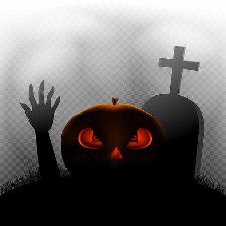 Halloween pumpkin zombie hand and grave in dark grass silhouette and transparent fog background
