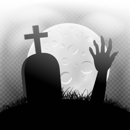 Halloween zombie hand and grave in dark grass silhouette and moonlight transparent background Иллюстрация