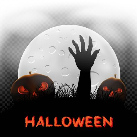 Halloween pumpkins zombie hand and moon Иллюстрация