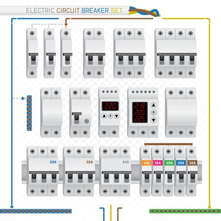 electric circuit breaker set Иллюстрация