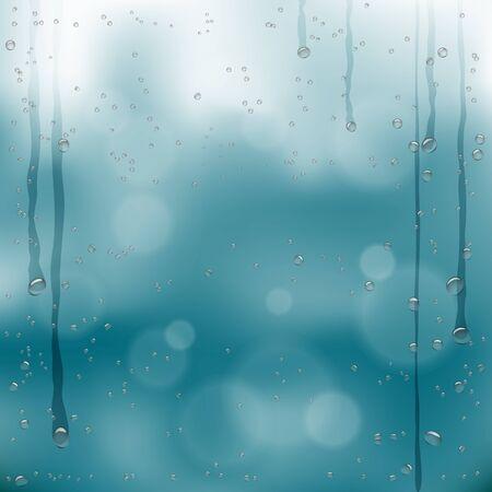 autumn bubbles drops template on wet glass Stock Illustratie