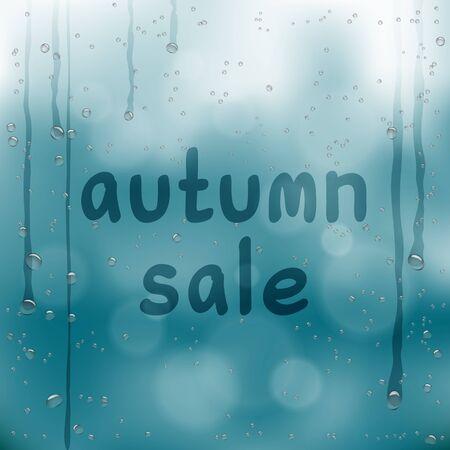 autumn sale written on wet glass Ilustração Vetorial