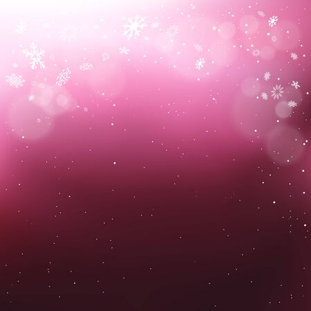 Christmas snow falls light in pink dark