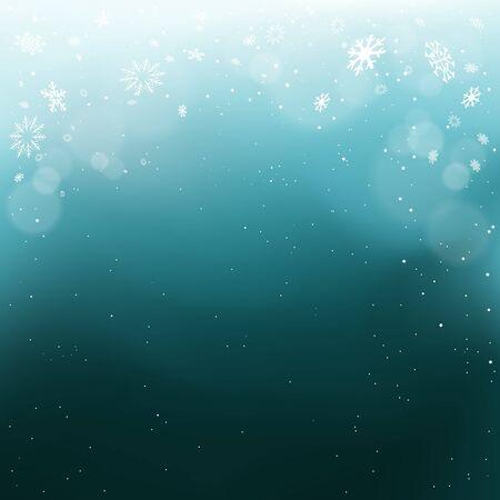 Christmas snow falls light in blue dark Ilustração