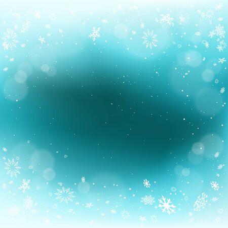 Winter Christmas snowfall blue background Ilustração