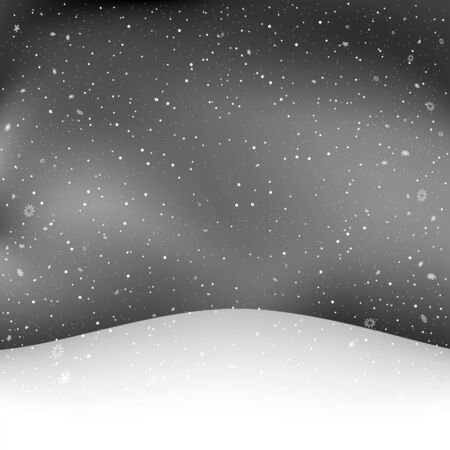 winter snowfall and Christmas snowy hill Ilustração
