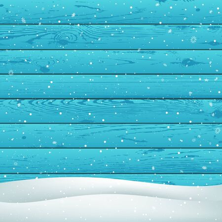 Winter snowfall on blue wood background. Christmas snowy hill. Holiday snowdrift azure wooden backdrop. Big and small snowflakes falling Ilustração
