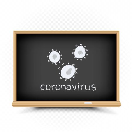 coronavirus quarantine draw on chalkboard