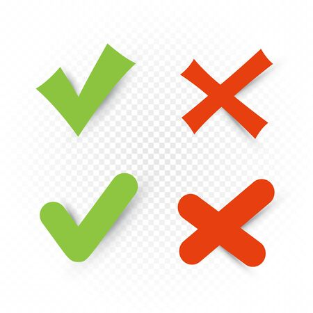 Yes and no sign set on white transparent background. Check mark stickers collection. Correct incorrect vector symbol Illustration