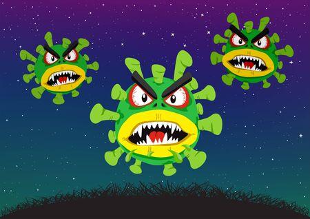 coronavirus attacks in night dark