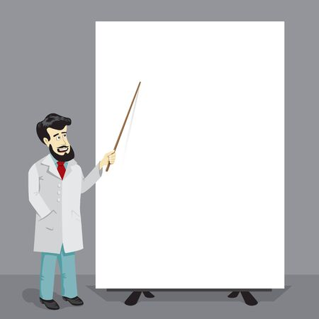 Bearded doctor with pointer and big empty poster template illustration. Medical education