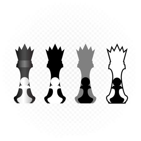 king stands behind pawn illustration