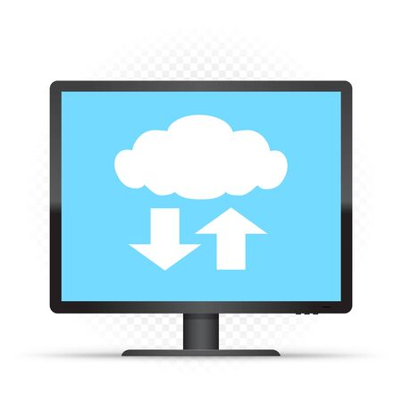 Black monitor and cloud service sign on white transparent background. Computer info exchange through clouds technology. PC wireless network communication