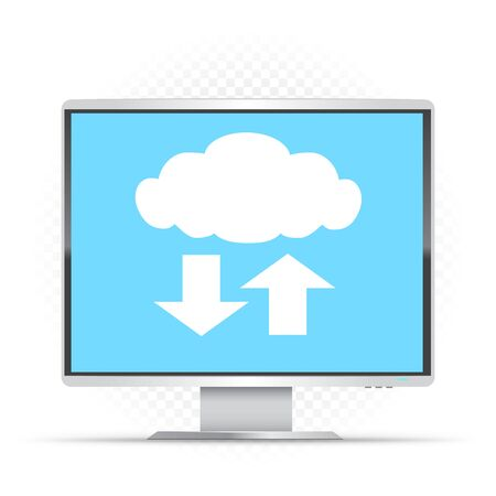 White monitor and cloud service sign on white transparent background. Computer info exchange through clouds technology. PC wireless network communication Illustration