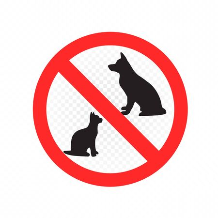 Do not enter with dogs and cats symbol on white transparent background. Dog and cat animal prohibition sign