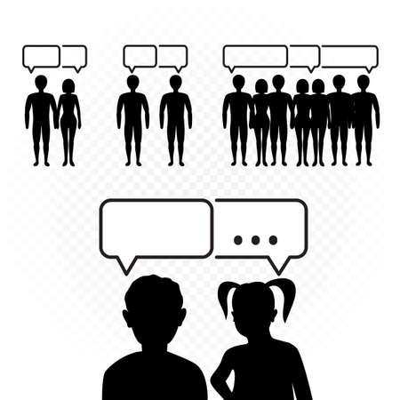 people talking set on white background