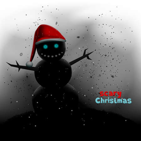 scary Christmas snowman in winter night