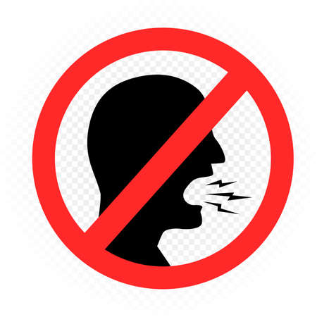 no shout prohibition sign symbol