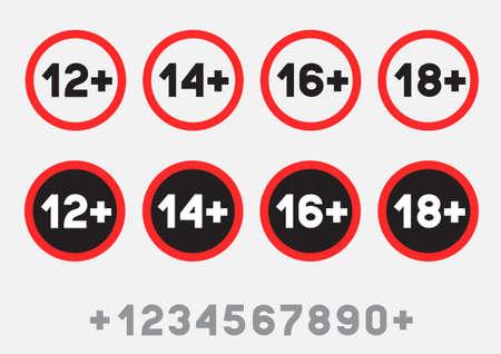 age limit sign sticker set